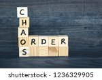 words chaos and order made of... | Shutterstock . vector #1236329905