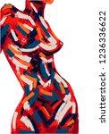 woman body oil painting. brush...   Shutterstock .eps vector #1236336622