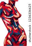 woman body oil painting. brush...   Shutterstock .eps vector #1236336625