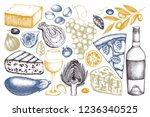 mediterranean food and drinks... | Shutterstock .eps vector #1236340525