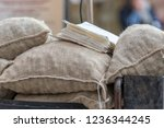 sacks of roasted chestnuts at...   Shutterstock . vector #1236344245