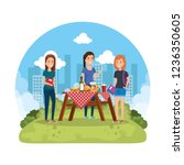 group of girls in picnic party | Shutterstock .eps vector #1236350605