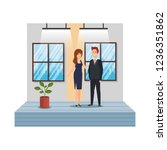 business couple in the workplace | Shutterstock .eps vector #1236351862