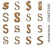 chiseled bronze metal letter s... | Shutterstock . vector #1236371182