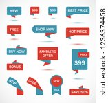 vector stickers  price tag ... | Shutterstock .eps vector #1236374458