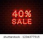 neon 40 sale text banner. night ... | Shutterstock .eps vector #1236377515