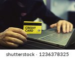 unknown person uses computer... | Shutterstock . vector #1236378325