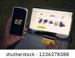 man got one short message on... | Shutterstock . vector #1236378388