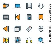 multimedia icons colored line... | Shutterstock .eps vector #1236388108
