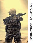 airsoft player in u.s. army... | Shutterstock . vector #1236395668