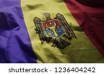 moldova flag rumpled close up  | Shutterstock . vector #1236404242