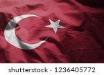 turkey flag rumpled close up    Shutterstock . vector #1236405772