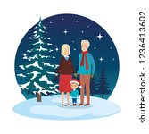 grandparents couple with... | Shutterstock .eps vector #1236413602