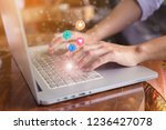 woman hand pressing on laptop... | Shutterstock . vector #1236427078