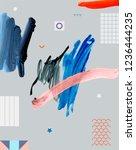 art poster. paint strokes. ...   Shutterstock . vector #1236444235