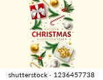 merry christmas  happy new year ... | Shutterstock .eps vector #1236457738