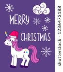 unicorn christmas and new year... | Shutterstock .eps vector #1236473188
