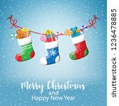 christmas greeting card with... | Shutterstock . vector #1236478885