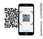 mobile phone scan qr code | Shutterstock .eps vector #1236480088