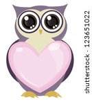 cute owl bird holding love... | Shutterstock .eps vector #123651022
