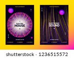 techno music poster. wave flyer ... | Shutterstock .eps vector #1236515572