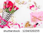 Pink And Gold Styled Desk With...