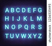 neon light letters  vector... | Shutterstock .eps vector #1236535495
