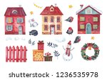 Stock photo a large christmas card set of christmas elements in the form of houses a snowman a fence 1236535978