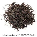 black tea leaves isolated on... | Shutterstock . vector #1236539845