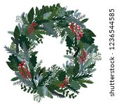 christmas decoration wreath ... | Shutterstock .eps vector #1236544585