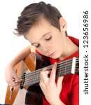 White boy is playing on acoustic guitar - isolated on white background - stock photo