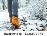 woman winter boots on snow...   Shutterstock . vector #1236573778