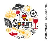 round composition with spanish... | Shutterstock .eps vector #1236584788