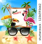 beach party with flamingo and... | Shutterstock .eps vector #1236593662