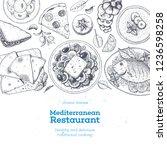 mediterranean cuisine top view. ... | Shutterstock .eps vector #1236598258