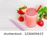 strawberry smoothies red... | Shutterstock . vector #1236604615