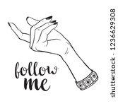 hand drawn female hand in... | Shutterstock .eps vector #1236629308
