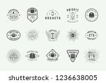 set of vintage rugby and... | Shutterstock .eps vector #1236638005