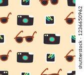 camera  snapshot and sunglasses ... | Shutterstock .eps vector #1236650962