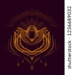 vintage stylised lotus flower....   Shutterstock .eps vector #1236689032