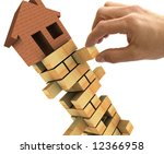 3d Illustration of the housing market recession - stock photo
