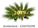 christmas tree branch with... | Shutterstock .eps vector #1236702298