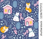 winter seamless pattern with... | Shutterstock .eps vector #1236707572