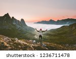tourist man with backpack... | Shutterstock . vector #1236711478