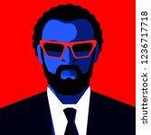 african bearded man wearing...   Shutterstock .eps vector #1236717718