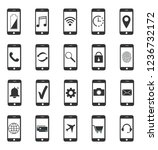 smartphone icons. functions... | Shutterstock .eps vector #1236732172