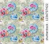 watercolor pattern time to... | Shutterstock . vector #1236737422