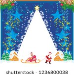 santa claus and beautiful woman   Shutterstock . vector #1236800038