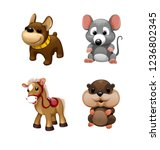 Vector Set Of Cute Animals Toy...