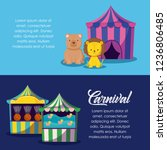 circus tent with cute animals...   Shutterstock .eps vector #1236806485